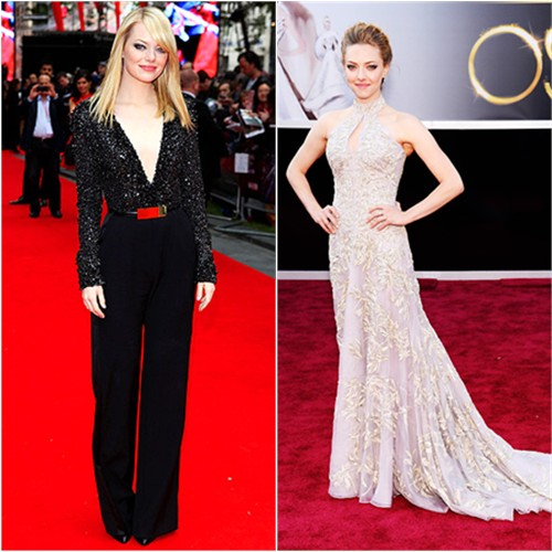 Emma's jumpsuit by Elie Saab; Amanda's gown by Alexander McQueen