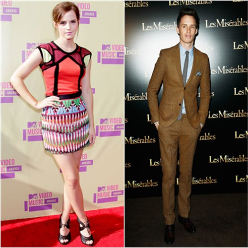 Emma's dress by Peter Pilotto, shoes by Tom Ford; Eddie's suit by Topman