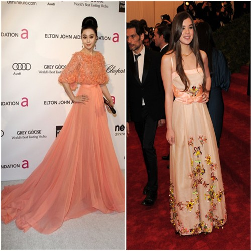 Fan's gown by Elie Saab, purse by Roger Vivier; Hailee's gown by Miu Miu