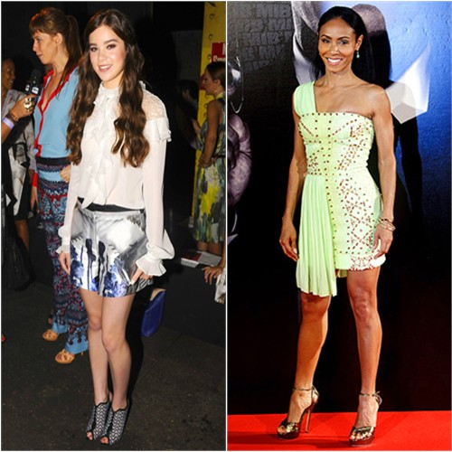 Hailee's top and shorts by Prabal Gurung; Jada's dress by Versace, shoes by Jimmy Choo