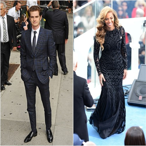 Andrew's suit by Gucci; Beyonce's gown by Emilio Pucci