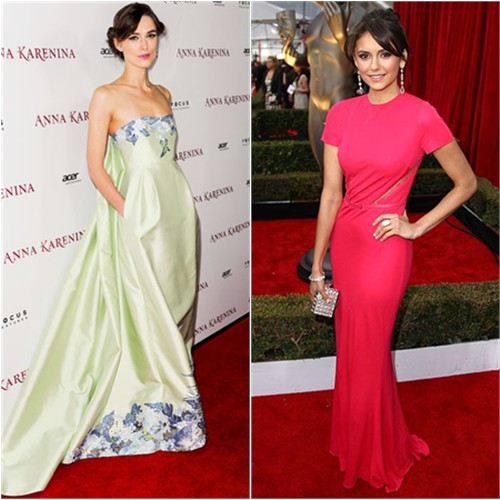 Keira's gown by Erdem; Nina's gown by Elie Saab, purse by Judith Leiber, shoes by Jimmy Choo