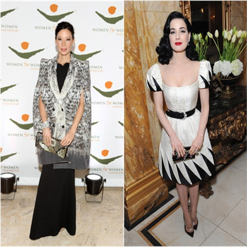 Lucy's coat by Roberto Cavalli, gown by Roland Mouret, purse by Roger Vivier; Dita's dress by Valentino, shoes by Christian Louboutin