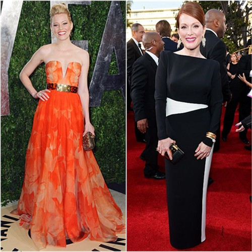 Elizabeth's gown and purse by Alexander McQueen; Julianne's gown by Tom Ford