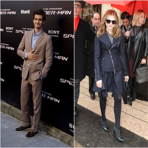 Andrew's suit by Band of Outsiders; Chloe's jacket, purse, and shoes by Christian Dior
