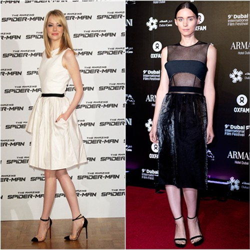 Emma's dress by Jason Wu, shoes by Christian Louboutin; Rooney's dress by Calvin Klein, shoes by Givenchy