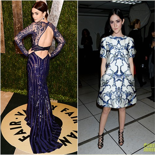 Lily's gown by Zuhair Murad; Isabelle's dress by Prabal Gurung