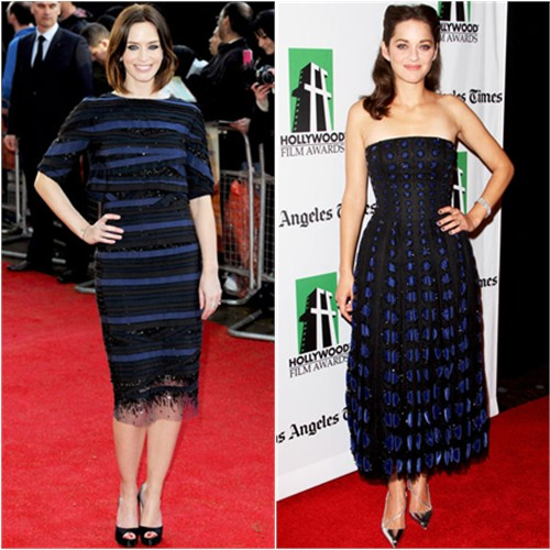 Emily's dress by Carolina Herrera, shoes by Christian Louboutin; Marion's dress and shoes by Christian Dior
