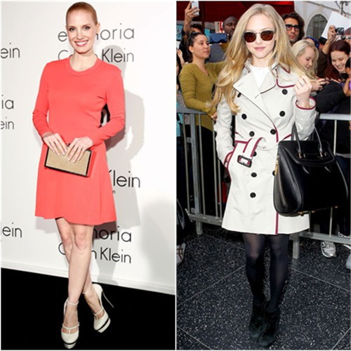 Jessica's dress by Calvin Klein, shoes by Elie Saab; Amanda's coat by Burberry, purse by Alexander McQueen