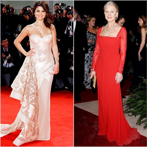 Selena's gown by Atelier Versace, purse by Judith Leiber; Helen's gown by Escada, purse by Tory Burch