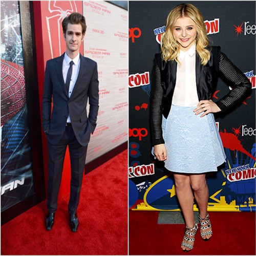 Andrew's suit by Balenciaga, Chloë's jacket, top, and skirt by Antonio Berardi, shoes by Sophia Webster