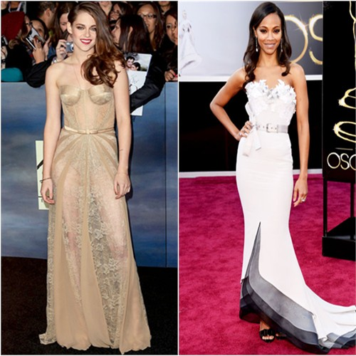 Kristen's gown by Zuhair Murad; Zoe's gown by Alexis Mabille, purse by Salvatore Ferragamo, shoes by Roger Vivier