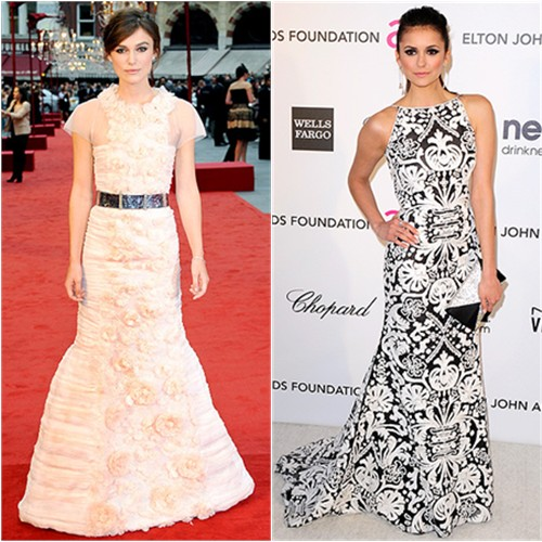 Keira's gown by Chanel; Nina's gown by Zuhair Murad, purse by Swarovski