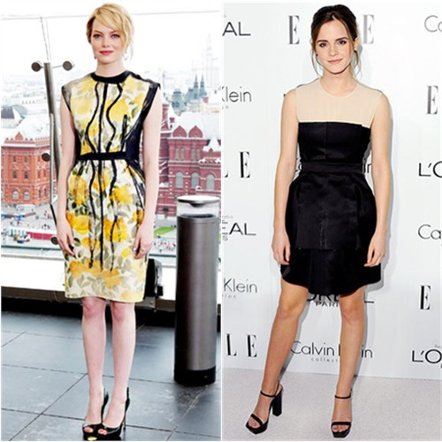 Stone's dress by Lanvin, shoes by Brian Atwood; Watson's dress by Calvin Klein