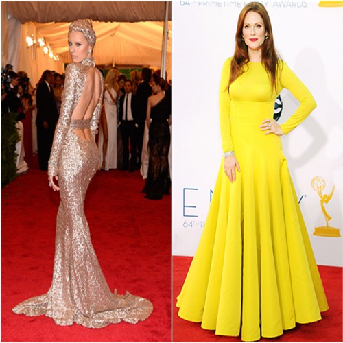 Karolina's gown by Rachel Zoe; Julianne's gown by Christian Dior