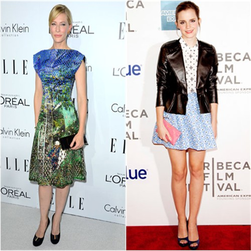 Cate's dress by Proenza Schouler, purse and shoes by Roger Vivier; Emma's jacket, dress, purse, and shoes by Miu Miu