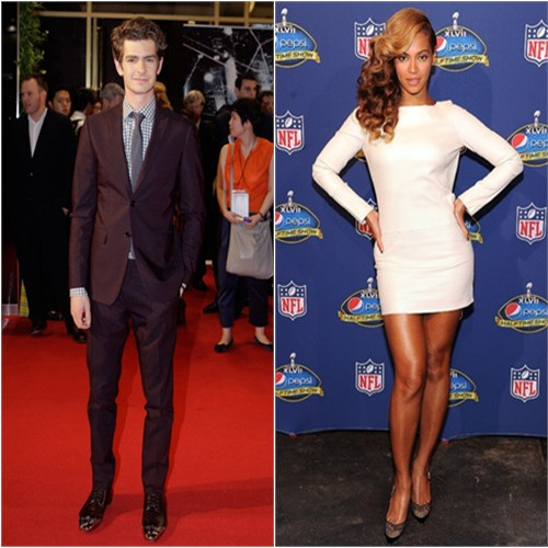 Andrew's suit by Burberry; Beyonce's dress by Olcay Gulsen, shoes by Jimmy Choo