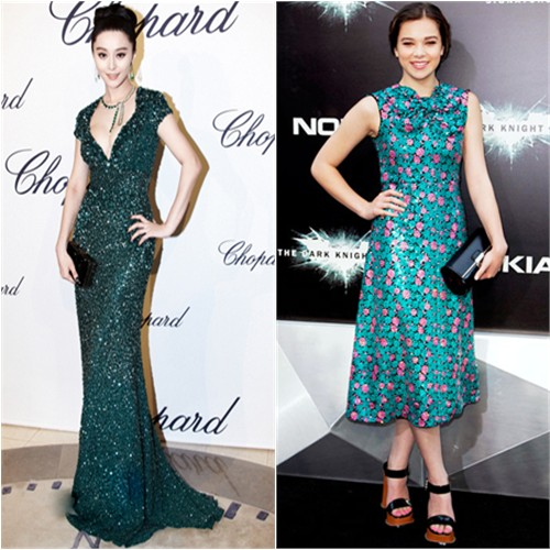 Fan's gown by Elie Saab, purse by Salvatore Ferragamo; Hailee's dress, purse, and shoes by Marc Jacobs