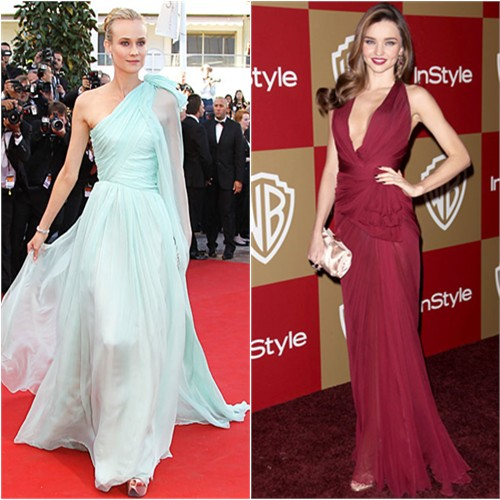 Diane's gown by Giambattista Valli; Miranda's gown by Zuhair Murad, purse and shoes by Salvatore Ferragamo