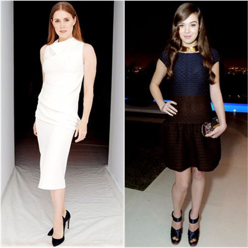 Amy's dress and shoes by Calvin Klein; Hailee's dress, purse, and shoes by Louis Vuitton