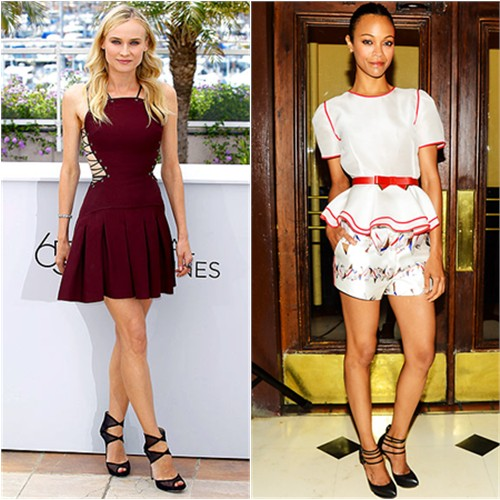 Diane's dress by Versus, shoes by Jimmy Choo; Zoe's top and shorts by Prabal Gurung, shoes by Nicholas Kirkwood