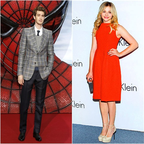 Andrew's jacket, sweater, and pants by Gucci; Chloë's dress and shoes by Calvin Klein
