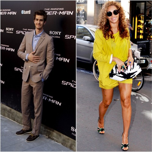 Andrew's suit by Band of Outsiders; Beyonce's jacket, top, and shorts by Surface to Air, sunglasses by The Row, purse by Alexander McQueen, shoes by Prada