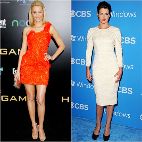 Elizabeth's dress by Atelier Versace, shoes by Jimmy Choo; Cobie's dress by Temperley London, shoes by Jimmy Choo