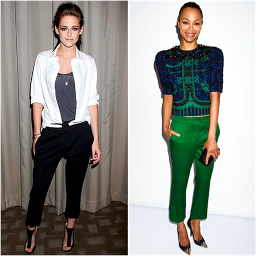 Kristen's blouse by Balenciaga, pants by A.L.C., shoes by Jimmy Choo; Zoe's top, pants, purse, and shoes by Louis Vuitton