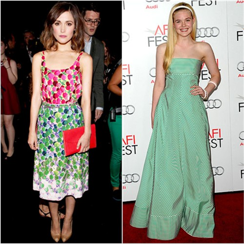 Rose's dress by Marc Jacobs; Elle's gown by Oscar de la Renta