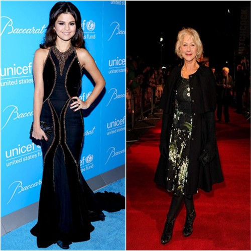 Selena's gown and Helen's dress and coat by Dolce & Gabbana; Selena's purse by Judith Leiber