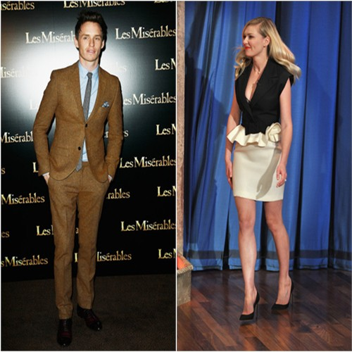 Eddie's suit by Topman; Kirsten's dress by Lanvin