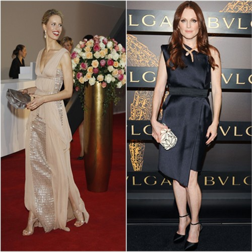 Karolina's gown by Vionnet; Julianne's dress and shoes by Lanvin, purse by Bulgari