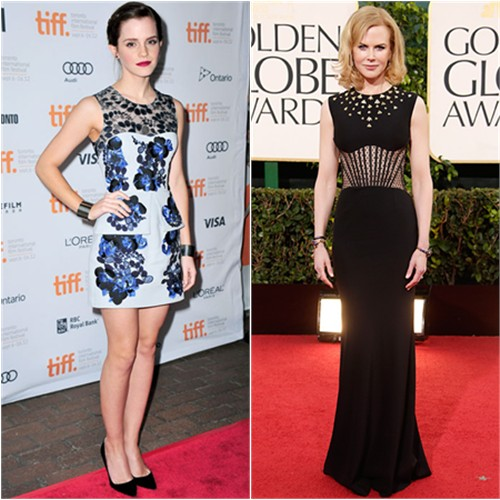 Emma's dress by Erdem; Nicole's gown by Alexander McQueen