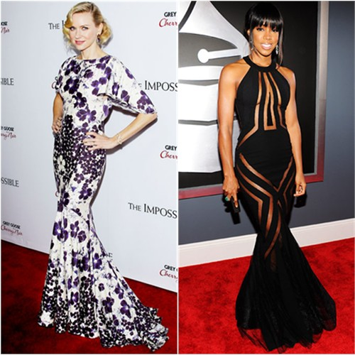Naomi's gown by Zac Posen; Kelly's gown by Georges Chakra
