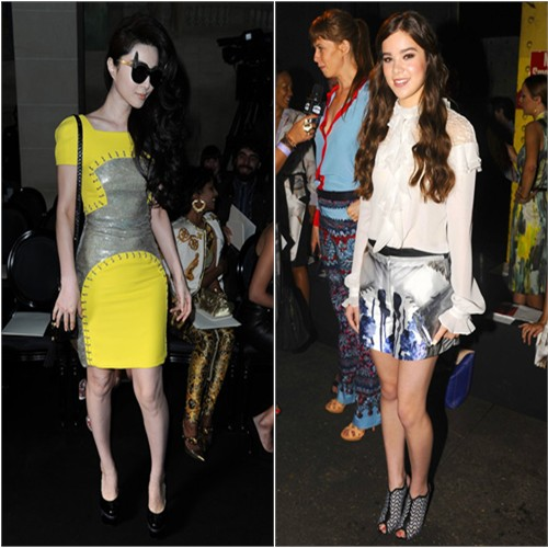 Fan's dress, purse, and shoes by Versace; Hailee's top and shorts by Prabal Gurung