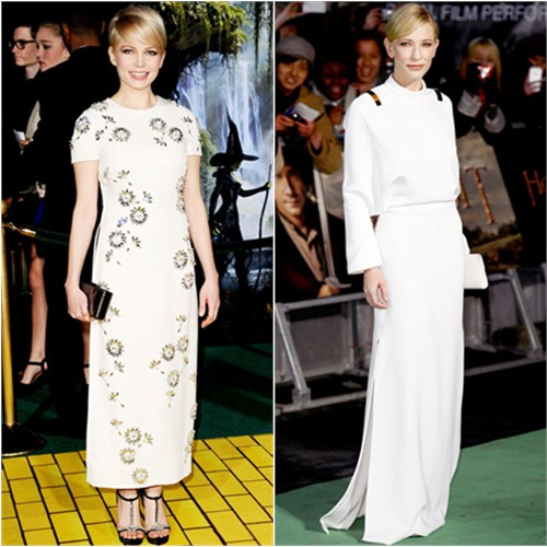 Michelle's gown and shoes by Prada, purse by Kate Young for Target; Cate's gown and shoes by Givenchy