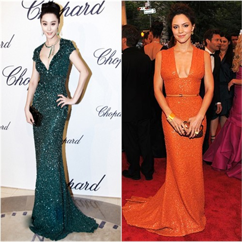 Fan's gown by Elie Saab, purse by Salvatore Ferragamo; Katharine's gown by Elie Saab