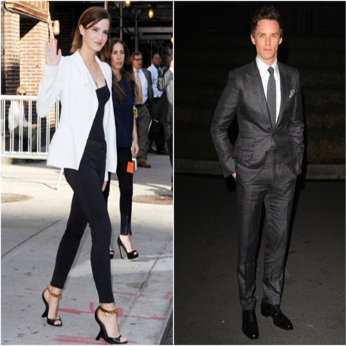 Emma's pants by J. Brand; Eddie's suit and Emma's shoes by Tom Ford