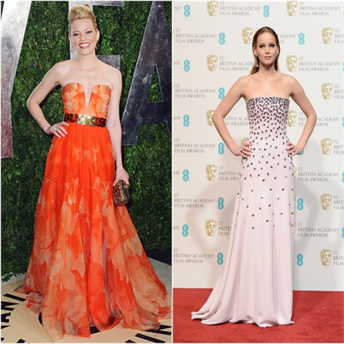 Elizabeth's gown and purse by Alexander McQueen; Jennifer's gown by Christian Dior