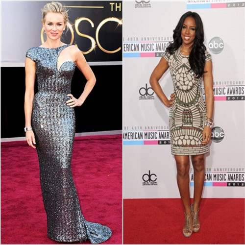 Naomi's gown by Armani Prive, purse by Jimmy Choo; Kelly's dress by Naeem Khan, shoes by Gucci