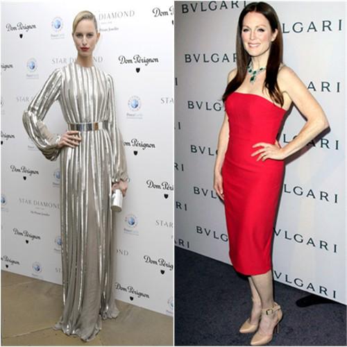 Karolina's gown by Nicholas Oakwell; Julianne's dress by Alexander McQueen