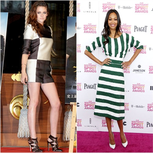 Kristen's romper by Louis Vuitton, shoes by Brian Atwood; Zoe's dress by Dolce & Gabbana, shoes by Casadei