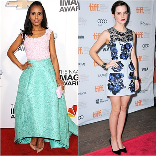 Kerry's gown by Oscar de la Renta, purse by Kotur, shoes by Christian Louboutin; Emma's dress by Erdem