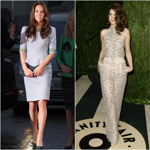 Duchess Kate's dress by Matthew Williamson; Marisa's jumpsuit by Valentino