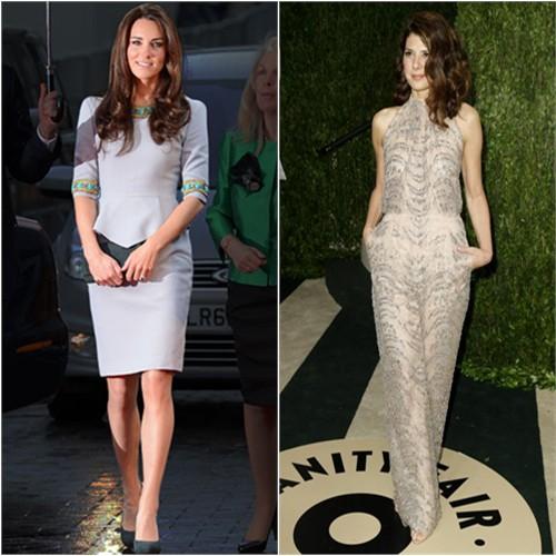 Duchess Kate's dress by Matthew Williamson; Marisa's jumpsuit by Valentino