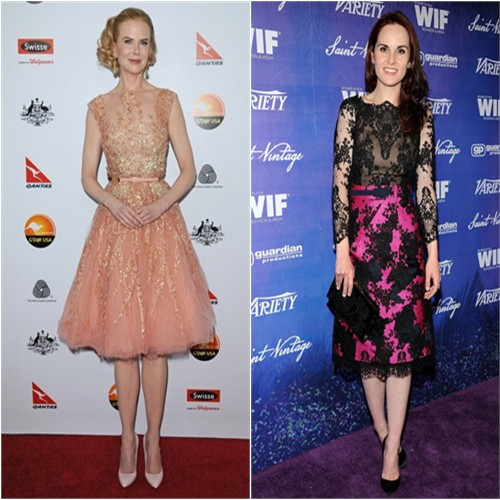 Nicole's dress by Elie Saab, purse and shoes by Bottega Veneta; Michelle's dress by Erdem