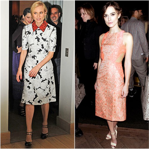 Diane's dress by Derek Lam, shoes by Versus; Keira's dress by Richard Nicoli