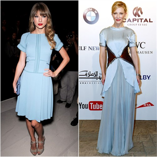 Taylor's dress and purse by Elie Saab; Cate's gown by Rodarte