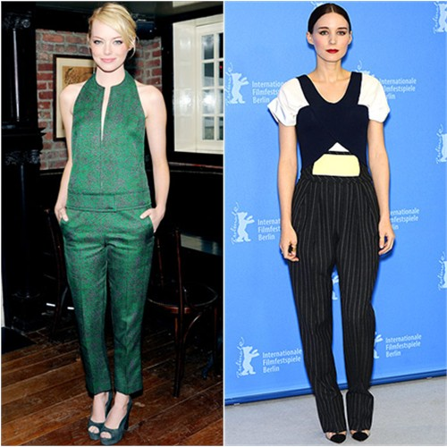 Emma's top and pants by Calvin Klein; Rooney's top and pants by Balenciaga, shoes by Christian Louboutin